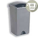 Tall Plastic Waste Bin 48 Litres Capacity Lift-Up Lid Metallic Silver 9713MET
