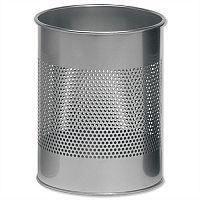 Durable Round Metal Bin 15 Litres Metallic Silver 3310/23