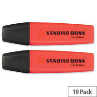 Stabilo Boss Highlighters Red Pens Pack 10