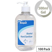 Teepol - Fully Approved Ethanol Based Hand Sanitiser Gel 500ml PCS 97238 Pack of 100
