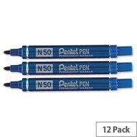 Pentel N50 Permanent Marker Bullet Blue Tip Pack 12