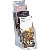 Leaflet & Brochure Holder Display 4 Tier Size DL 1/3xA4 Pockets Clear Deflecto