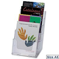 Deflecto A5 Multi Tier Leaflet & Brochure Holder 4 Pockets Clear