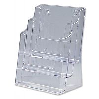 Brochure Holder Display 3 Tier A4 Pockets Clear Deflecto