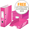 Leitz WOW LAF A4 85mm Pink 10050023 & Matching Storage Box and Letter Tray FREE