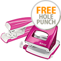 Leitz Stapler NeXXt WOW 3mm/30 Sheet Pink & Matching Leitz WOW Hole Punch FREE