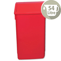 Plastic Flip Top Waste Bin 54 Litres Red Addis