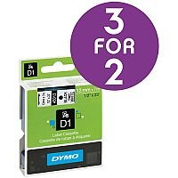 Dymo D1 Tape for Electronic Labelmakers 12mmx7m Black on White Ref 45013 S0720530 [3 For 2] Oct 2016