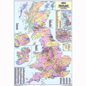 Britian Counties Districts Unitary Authorities Map Unframed 12.5 Miles/inch Map Marketing BIC