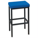 Trexus High Stool with Foot Bar Upholstered Seat W410xD410xH700mm Blue 056893