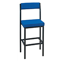 Trexus High Stool with Upholstered Backrest and Seat W410xD410xH700mm Blue 056908