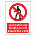 Stewart Superior Sign Self-adhesive Vinyl No Unauthorised Persons 200x150mm