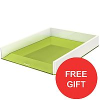 Leitz WOW Dual Colour Letter Tray Green With FREE Sound Pen Pot