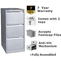 3 Drawer Steel Filing Cabinet Flush Front Goose Grey Bisley BS3E