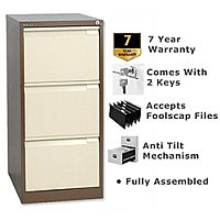3 Drawer Steel Filing Cabinet Flush Front Brown & Cream Bisley BS3E