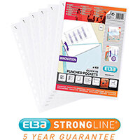 Elba A4 Heavy Duty Quick-in Punched Pocket  Clear Ref 400012939 Pack of 100 [2 for 1] Jan-Dec 2019