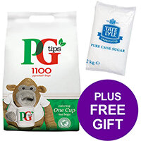 PG Tips 1100 Tea Bags Pyramid 1 Cup Ref 17948501 Pack of 2 [FREE Granulated Sugar Bag 2kg] Apr-Jun 2019