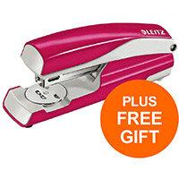 Leitz NeXXt WOW Stapler 3mm 30 Sheet Pnk Ref 55021023L (FREE LEITZ NeXXt WOW PNK HOLE PUNCH) Jul-Sept 2019
