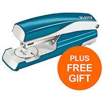 Leitz NeXXt WOW Stapler 3mm 30 Sheet Blu Ref 55021036L (FREE LEITZ NeXXt WOW BLU HOLE PUNCH) Jul-Sept 2019