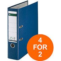 Leitz Lever Arch File Plastic 80mm Spine A4 Blue Ref 10101035 Pack of 10 (4 For 2) Jul-Sept 2019