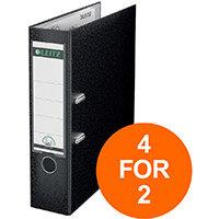 Leitz Lever Arch File Plastic 80mm Spine A4 Black Ref 10101095 Pack of 10 (4 For 2) Jul-Sept 2019