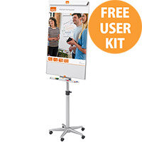 Nobo Cls Nano Cln Magnetic Mobile Easel Stl Ht-adj Brd 690x1000mm 690x1900 Ref 1902386 (FREE User Kit) Jan-Mar 20