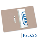 Foolscap Transfer Spring File with Pocket Recycled Buff 32mm Pack 25 Elba Stratford