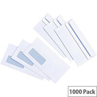 5 Star Value White DL Window Envelopes Self Seal Wallet 90gsm Pack of 1000