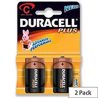 Duracell Plus Power Battery Alkaline C 1.5V Pack 2
