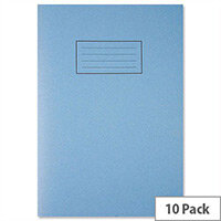 Silvine Exercise Book Plain 75gsm 80 Pages A4 Blue Ref EX114 [Pack 10]