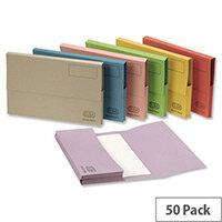 Document Wallet Half Flap Foolscap Pink Pack 50 Elba