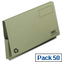 Document Wallet Full Flap Foolscap Green Pack 50 Elba