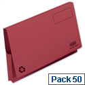 Document Wallet Full Flap Foolscap Red Pack 50 Elba