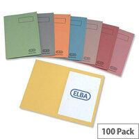 Elba Recycled Square Cut Folder A4 Blue Pack 100