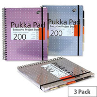 Pukka Pad Project Book Wirebound 200pp 80gsm A4 Metallic Ref 6970-MET [Pack 3]