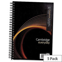 A5 Notebook Wirebound 100 Pages 70gsm Ref 400020197 Cambridge EveryDay [Pack 5]