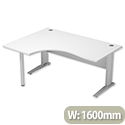 Cantilever Radial Office Desk Left Hand W1600xD1200xH725mm White Komo