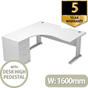 Radial Office Desk Left Hand with 600mm Desk-High Pedestal W1600xD1600xH725mm White Komo