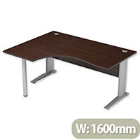 Cantilever Radial Office Desk Left Hand W1600xD1200xH725mm Dark Walnut Komo