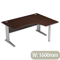 Cantilever Radial Office Desk Right Hand W1600xD1200xH725mm Dark Walnut Komo