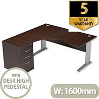 Radial Office Desk Left Hand with 600mm Desk-High Pedestal W1600xD1600xH725mm Dark Walnut Komo
