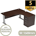 Radial Office Desk Right Hand With 600mm Desk-High Pedestal W1600xD1600xH725mm Dark Walnut Komo