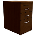 Filing Pedestal Desk-High 3-Drawer 600mm Deep Dark Walnut Kito