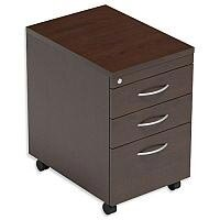 Filing Pedestal Mobile Tall Under-Desk 3-Drawer Dark Walnut Kito