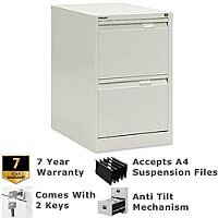 2 Drawer Steel Filing Cabinet Flush Front White Bisley BS2E