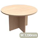 Trexus Boardroom Table Round X-Panel Legs Dia1200xH725mm Maple
