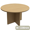 Trexus Boardroom Table Round X-Panel Legs Dia1200xH725mm Oak