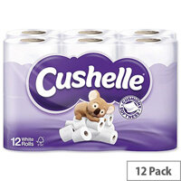 Cushelle Toilet Tissue Paper Rolls 2-Ply 180 Sheets White Pack of 12 Toilet Paper Rolls