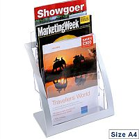 Deflecto Contemporary Counter Top Magazine Holder Silver