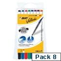 Bic Velleda Drywipe Marker 1721 Bullet Tip 1.5mm Line Assorted 8 Pack Ref 1199005728